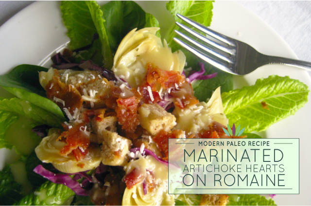 Marinated-Artichoke-Hearts-on-Romaine